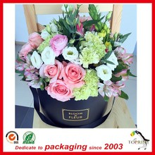 2017 custom luxury wholesale waterproof round cylinder paper flower gift box with lid
