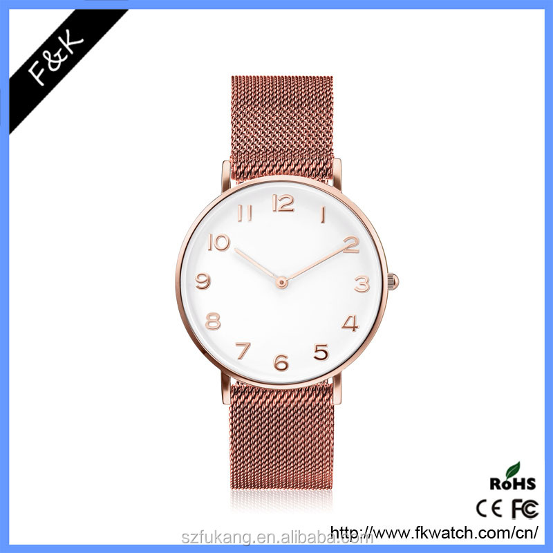 2017 most hot sale vogue rose gold strap water resistant quartz watch