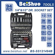 "94PCS 1/2""1/4"" Dr. Socket Set Car Repair Tools DIN standards machine tools/bicycle repairing"