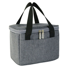 Grey Felt Fabric Reusable Insulated Felt Lunch Box Tote Bag
