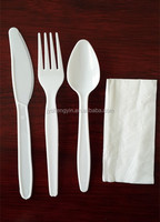 white colour plastic cutlery set with fork spoon knife and napkin