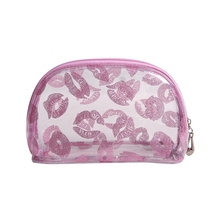 2017 newly fashion candy color lip printed glitter clutch pvc mini pink transparent cosmetic bag