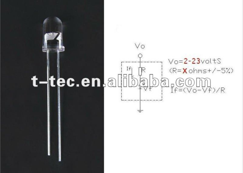 3mm 5mm Green Light Emitting Diodes Leds With Resistor 12V For Toys