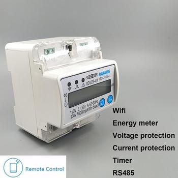 5(60)A 110V 230V 50HZ 60HZ Single phase Din rail WIFI smart energy meter over and under voltage current protection RS485