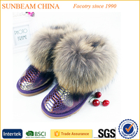 2015 fox fur warm genuine leather winter woman snow boot