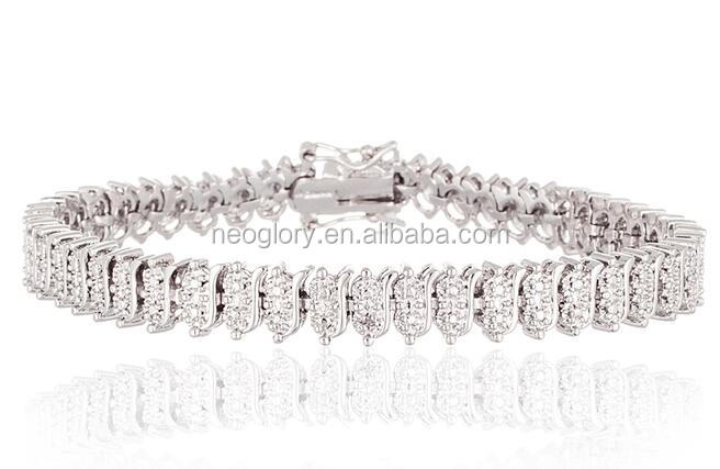 Brass Main Material Diamond Accent Tennis Bracelet Slide Closure With Two Safety Clasps