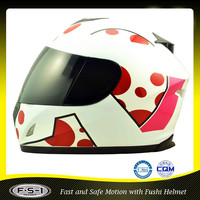 White DOT superman specialized full face helmet for motorcycyle