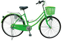 26inch green single speed city bike for women