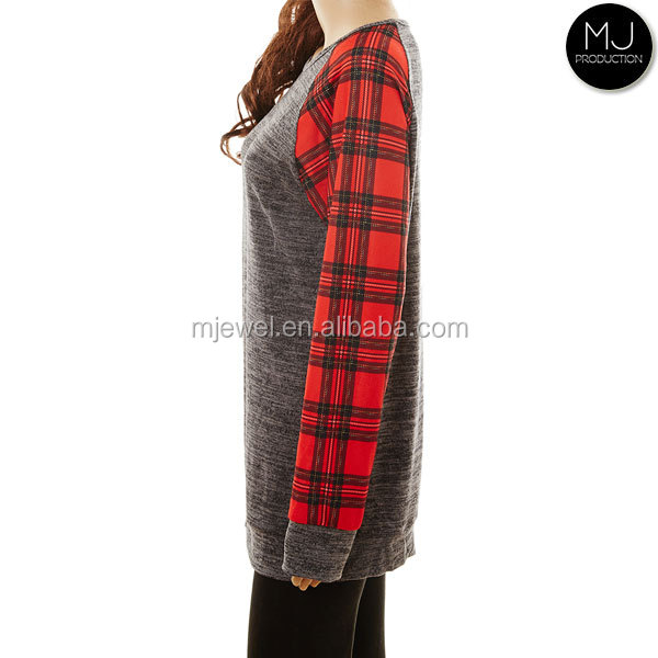 FACTORY LOW MOQ long plaid Christmas tops pajamas women wholesale
