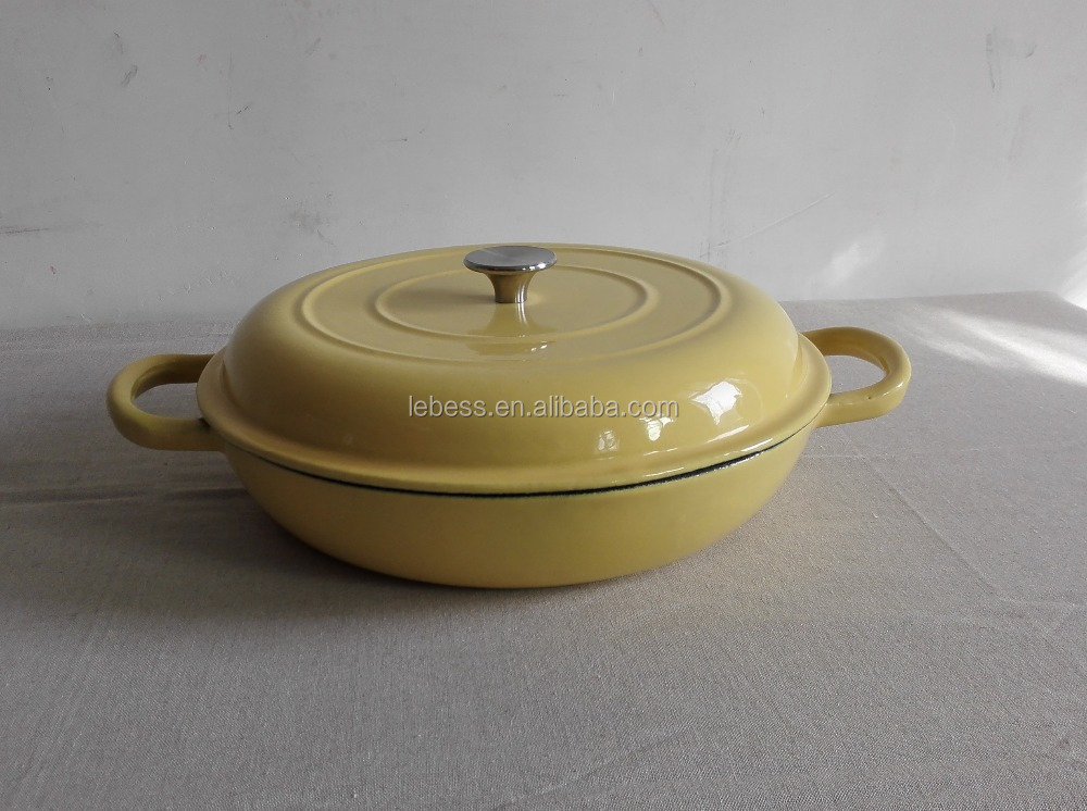 yellow shallow enameled cast iron seafood cooking pot with Hollow Handle