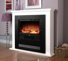 CE Electric Fireplace Insert With White Mantel