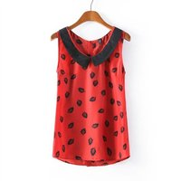 S63261A China supplier ladies sleeveless printed latest tops sexy girls casual tops for women