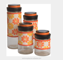 Super popular glass storage jar with yellow flower cloth adesign sense lid sell very well