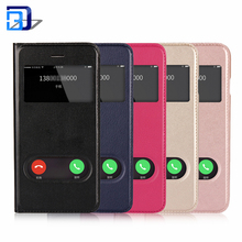 2018 Trending Products Double Window PU Leather Magnetic Closure Flip View Case Folio Mobile Phone Cover For iPhone 7 8