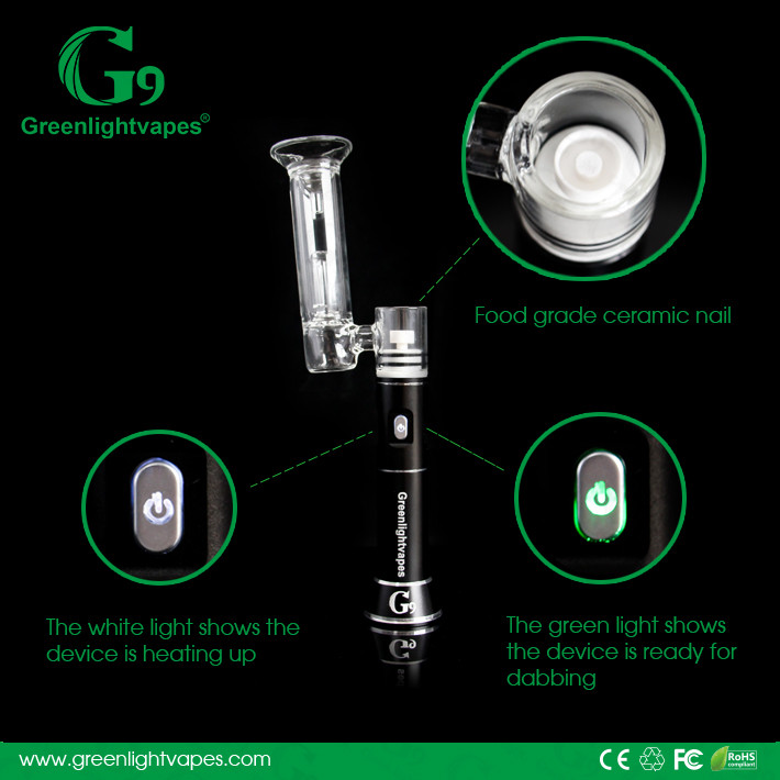 2016 greenlight vapes g9 h-enail dry herb grinder vaporizer henail wax glass water pipe