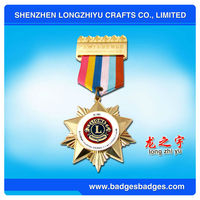 star Metal medal with colorful ribbion for Lion club