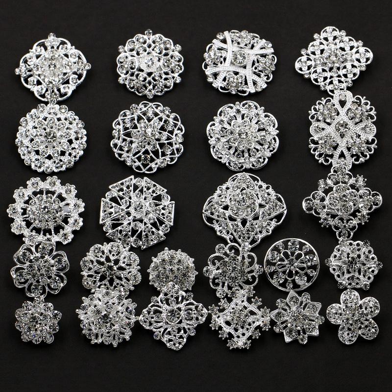 12pcs Stunning Rhinestone Crystal Flower Brooch Pins Set Bouquet Crystal Kit