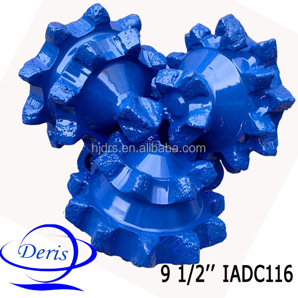 "API&ISO china supplier 9 1/2"" IADC code 116 steel tooth tricone drilling bit for soft shale and clay"