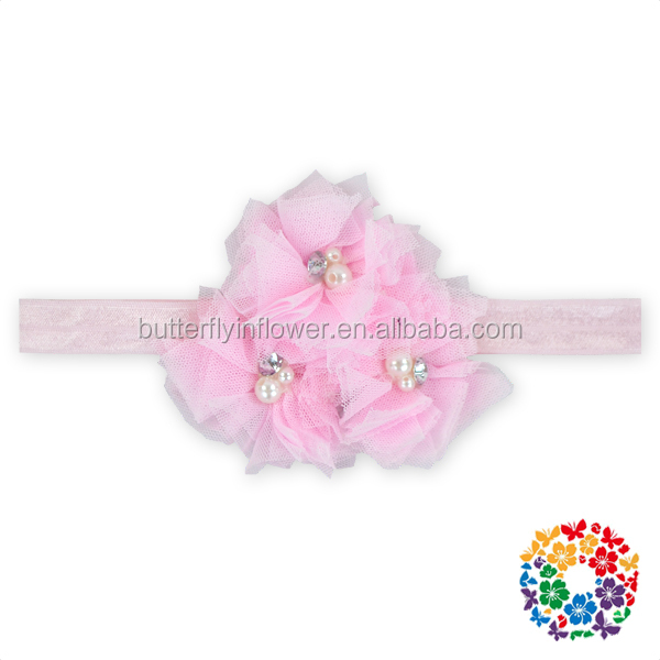 3pcs Shabby Flowers with Gems Center Flexible Headbands for baby girl Pink Flower baby headbands
