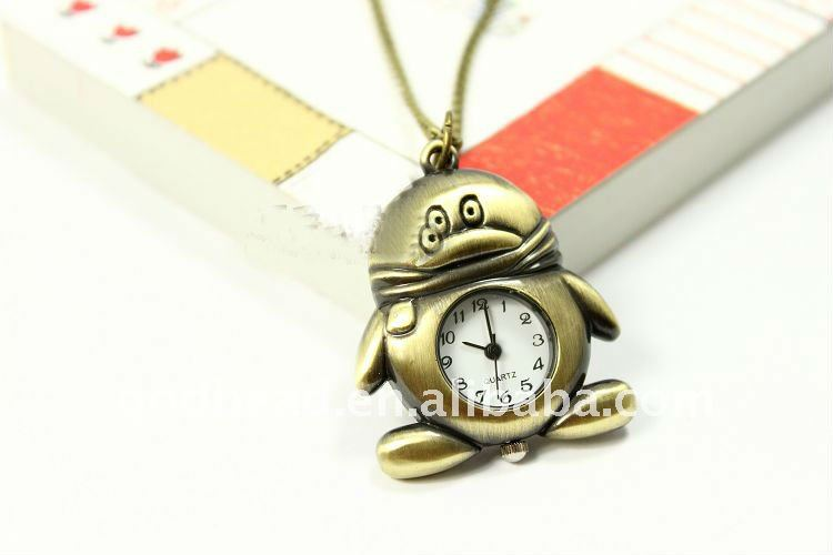 W262 wholesale Antique brass bronze pocket watch chain charm pendant watch necklace nickel free lead free