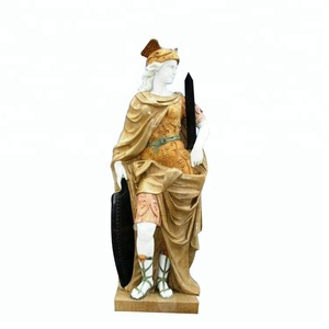 Life size antique roman soldier marble stone statue