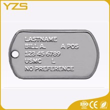 factory supply Custom zinc alloy military id dog tag