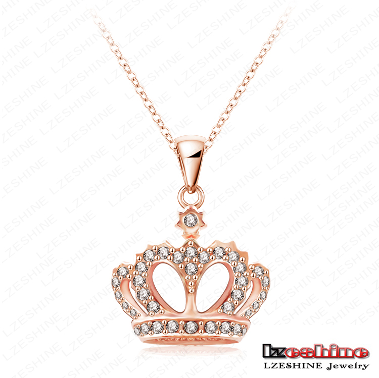 King's Crown Necklace Real 18K Rose Gold Plated Crystal Pendant Necklace Genuine SWA Elements Necklace Jewelry Wholesale NL0290