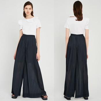 New style long pleated wide leg pants