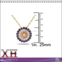 Sterling Silver Jewelry Manufacturer Yellow Gold Sapphire Diamond Necklace