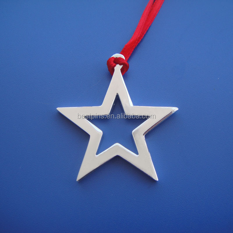 Personalized golden and silver star shape metal Chrismas Ornaments