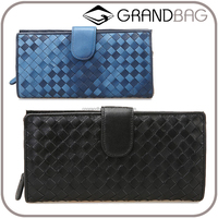 good quality soft sheepskin wallet hand knitting long style purse hot selling lgenuine leather wallet