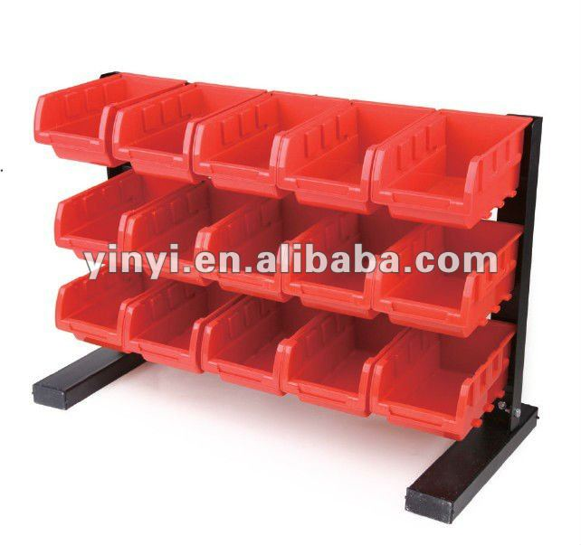 15 bin storage rack,15 plastic storage bin kit, combination boxes15 bins plastic storage bin rack bin shelf (202730)