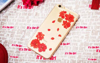 Unique Christmas Gift Handcrafted for IPHONE 6 for Iphone 6 plus dry pressed natural real orange flower inside TPU phonecase