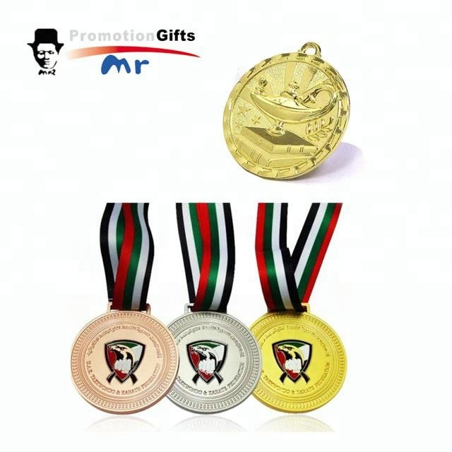 Custom souvenir football logo metal medal with ribbon