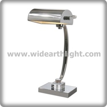 UL Listed Chrome Metal Bank Lamp With Adjustable Shade T40438