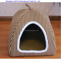 Factory supply attractive fashion stripe plush pet kennel heated doghouse