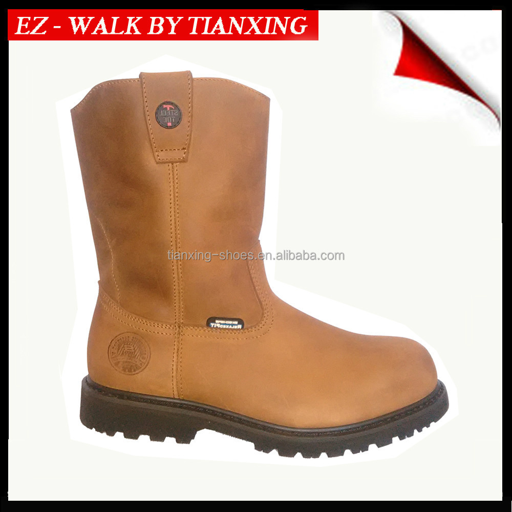 western boots with Steel toe Leather Wellington boots
