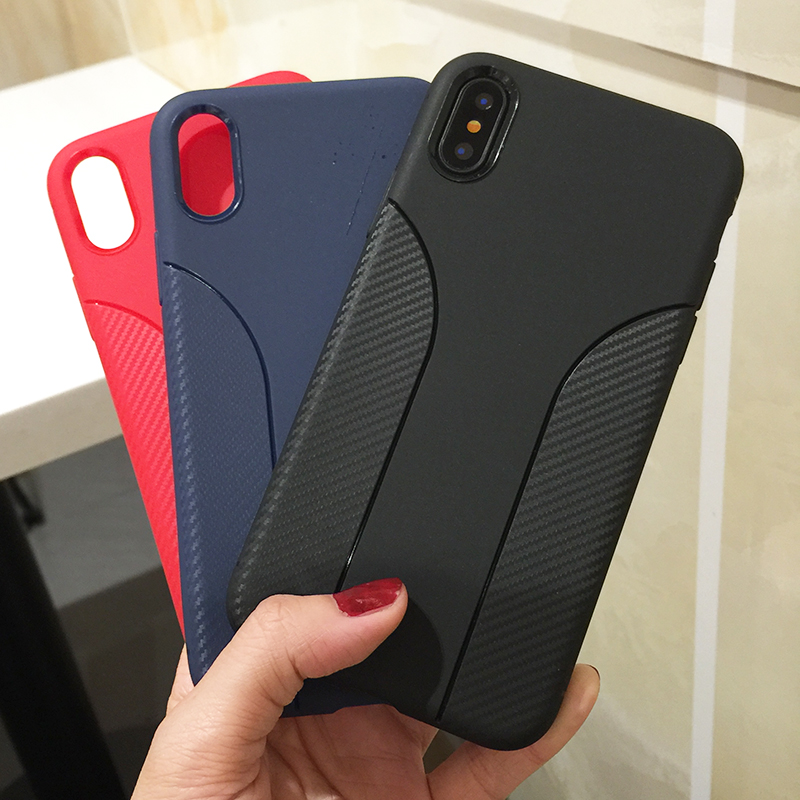 Wholesale OEM Carbon Fiber Pattern Mobile Phone Shell for iPhone 8 7 6 Plus Soft Cover TPU Case for iPhone X