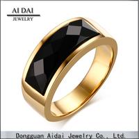 AIDAI new stainless Steel black agate ring gold Korean fashion ring