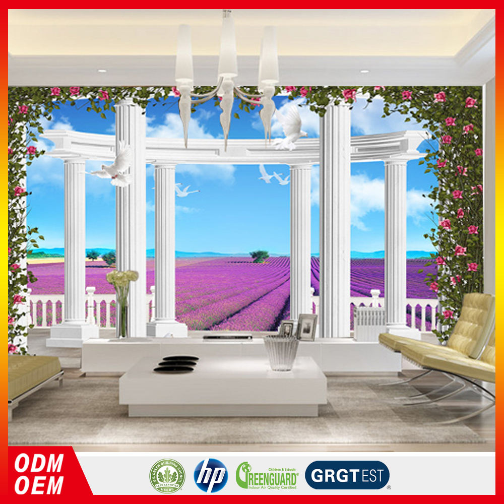 European style wallpaper lavender 3d palace Roman column TV background 3D wall murals for resturant