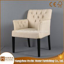 Furniture Wooden Antique With Armrest Luxury Soft High Back Rest Chair