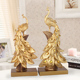 Hot Sale Animal Resin Crafts Creative large artificial golden peacock fashion Model pavone resina For home decorations