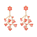 2017 fashionable gold branch earring latest design fashion gold plated earring green coral bead earring