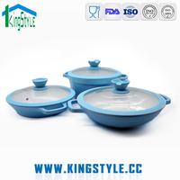 Commercial kitchen equipment non-stick pan set, 3pcs pressing aluminum cookware set