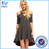 Wholesale Yihao Ladies Loose Dark Grey Summer Sexy Dresses Cut Out Half Sleeve Casual Clothing For Women 2016