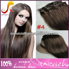 Top quality #4 Indian hair clip on hair extension