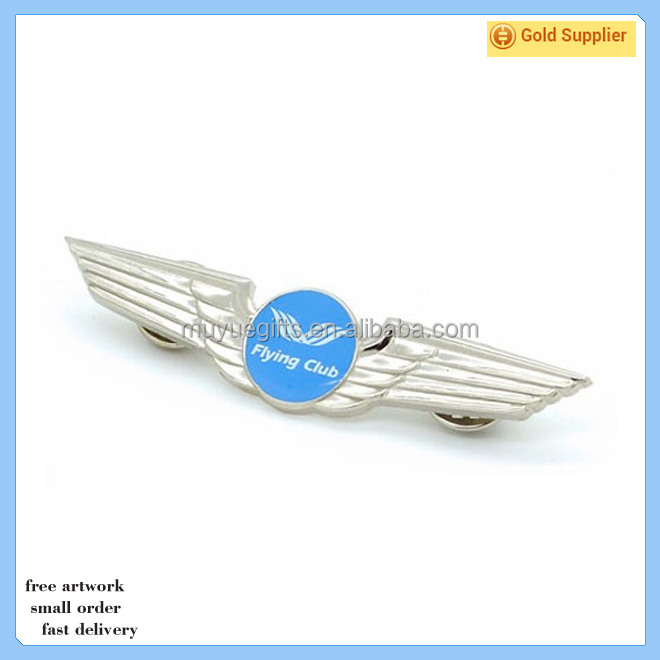 antique custom made pilot wings brass lapel pin
