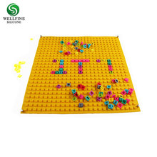 Food grade blocks design silicone kids puzzle play mat
