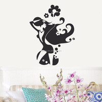 ZooYoo Removable beautiful lady custom vinyl stickers arts wall stickers home decor for living room (GU6)