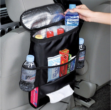 Aluminium Foil Insulated Cars Seat Backs Organizer Drink Cooler Bag with Mesh Pockets for Organizing Waste Dump Rubbish